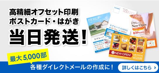 「名刺・はがき・各種カード印刷」に当日出荷プランが新登場!