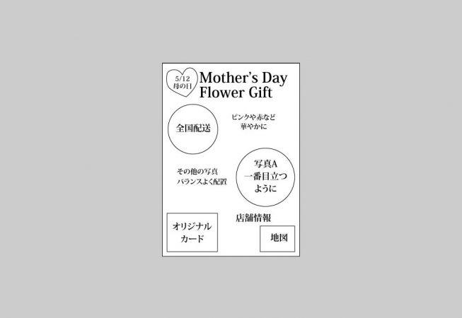 販促チラシ(母の日イベント)のラフ