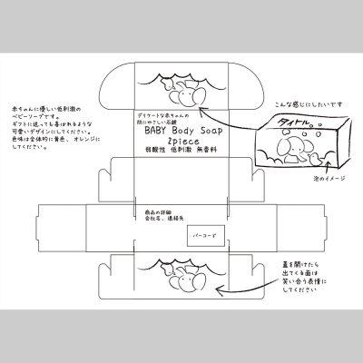 石鹸のパッケージデザインラフ