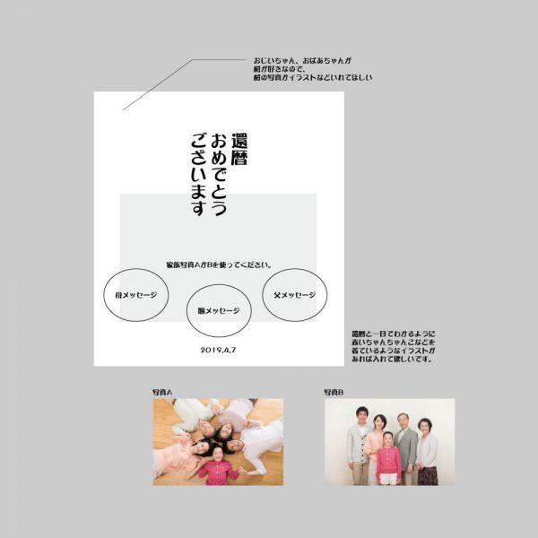 記念色紙のデザインラフ