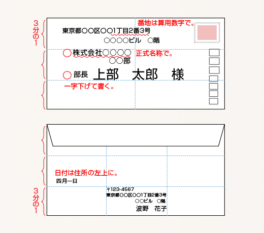 封筒の書き方(横)