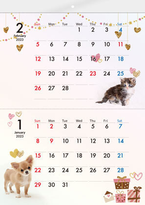 ECO壁掛け2ヶ月カレンダー印刷(タンザック)(8ページ)