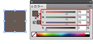 CMYのみで設定した安定しない色