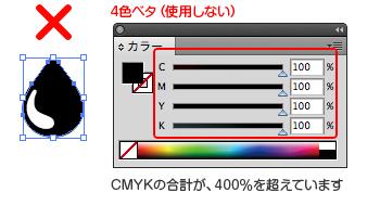 4色ベタは使用しないでください