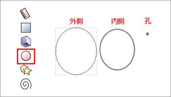 ツールボックスより円を作成