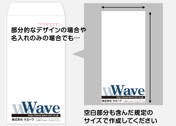 部分的なデザインの場合にも、空白部分を含んだ規定のサイズで作成してください