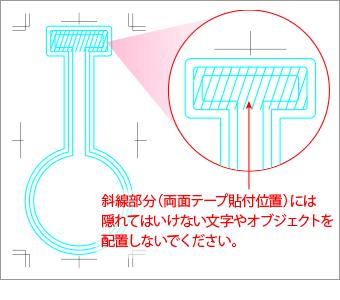 両面テープの貼付位置には、隠れてはいけない文字やオブジェクトを配置しないでください。