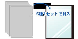 クリアファイル5種を1セットにしてOPP袋に入れる