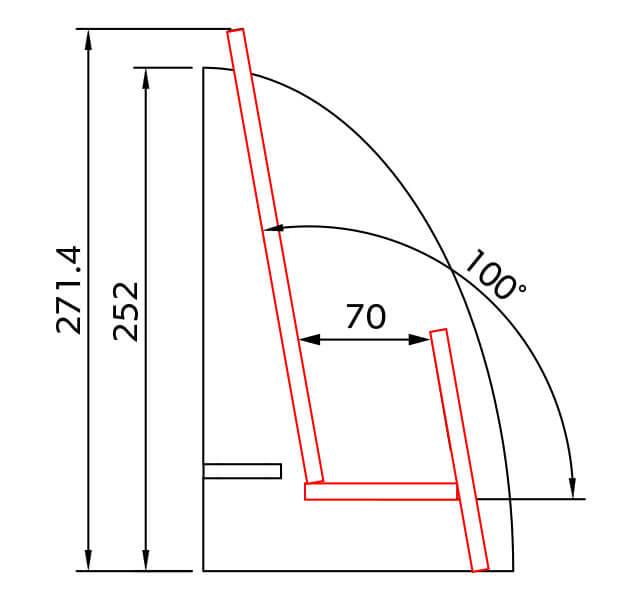 A4三つ折りサイズ卓上ラック 断面図