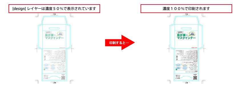 [design]レイヤーに配置されている内容が最前面に印刷されます。(画像は濃度50%で透過していますが、実際は透過されずに印刷されます。) 重なる部分に文字などの重要なデザインを配置しないでください。