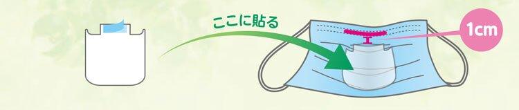 「ノベルティ・息が楽・マスクインナー」の両面テープから剥離紙を剥がし、「ノーズワイヤー」から約1cm下に「ノベルティ・息が楽・マスクインナー」の上端が来るように、貼り付けます。