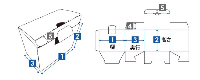 地獄底式箱(差し込みロック)の展開図・完成図