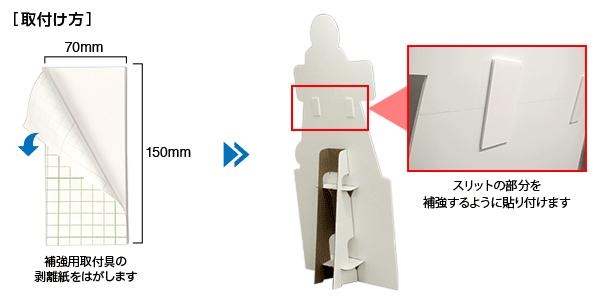 補強用取付具はスリットに貼り付けて補強します