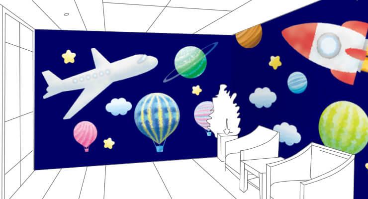 宇宙柄の子供部屋用壁紙