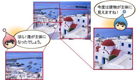 画像のトリミング例