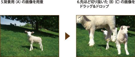 背景用画像に切り抜いた画像をドラッグ&ドロップ