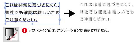 フォントデータに対してグラデーションを設定した場合