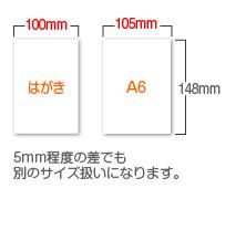 ハガキのサイズとA6サイズはサイズが違います