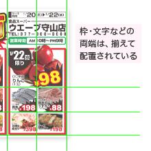 枠・文字などの両端は、揃えて配置されている