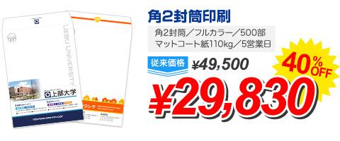 角2封筒/フルカラー/500部 マットコート紙110kg/5営業日角2封筒印刷/\29,830